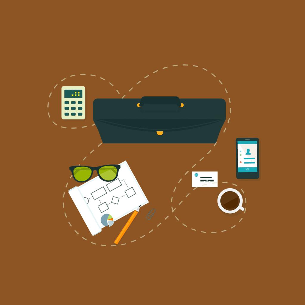 Портфель, визитка, телефон, кофе расположенные в хаотичном порядке, но связанные между собой. Корпоративные тренинги. Организация и подготовка.